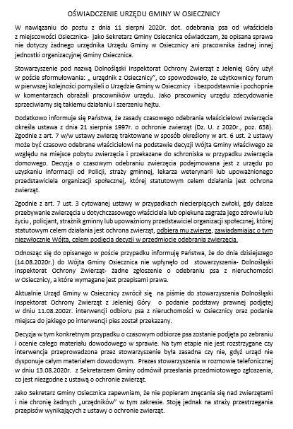 Oświadczenie Gminy Osiecznica