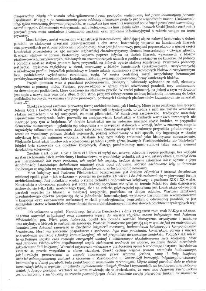 Pismo Dolnośląskiego Wojewódzkiego Konserwatora Zabytków