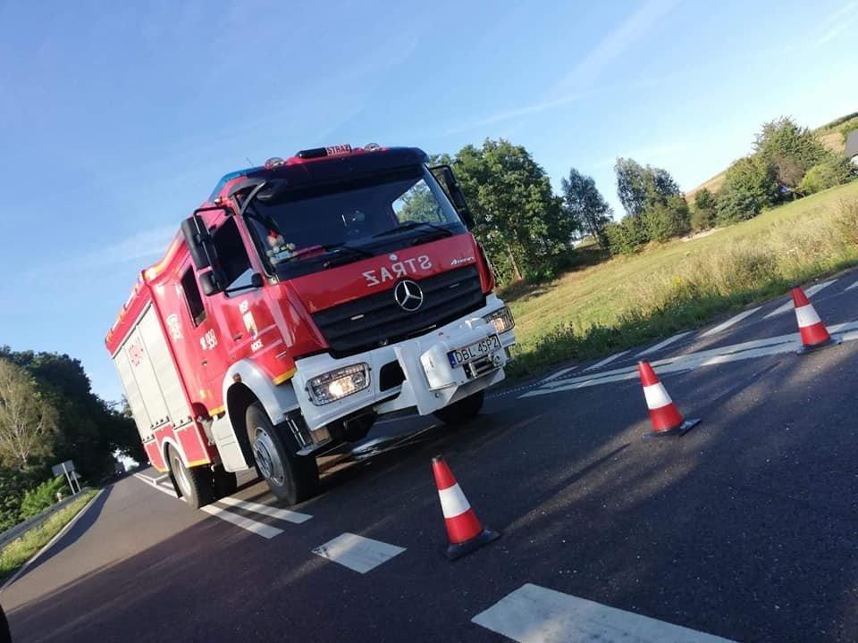 Akcja straży pożarnej koło Suszek (gmina Bolesławiec)