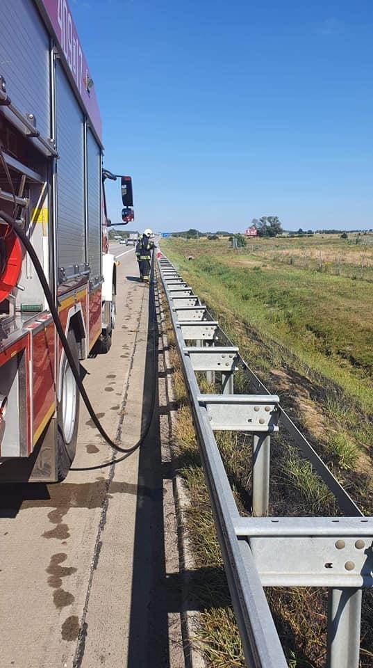 Akcja straży pożarnej przy A4