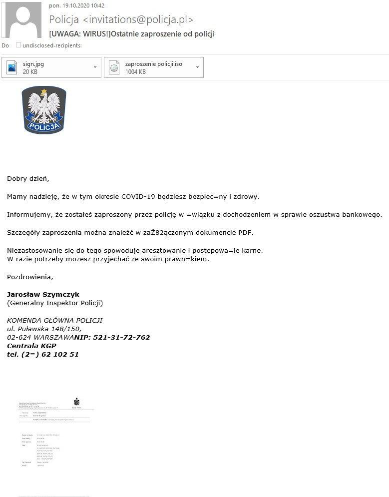 Przykład wiadomości phishingowej