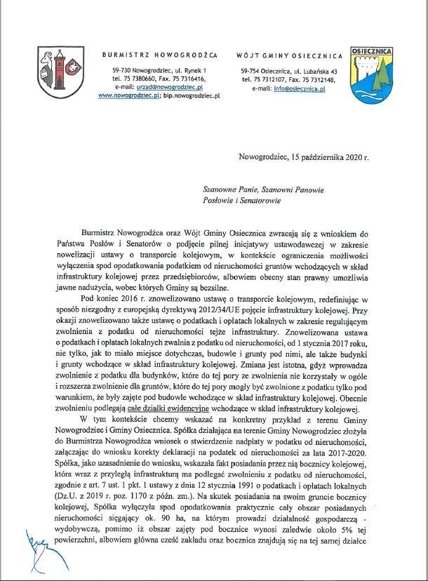 Pismo wójta Gminy Osiecznica Waldemara Nalazka i burmistrza Gminy Nowogrodziec Roberta Relicha