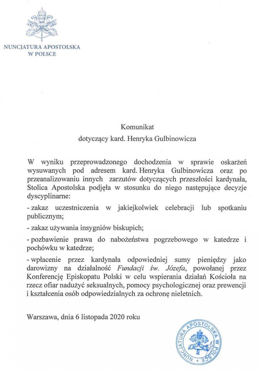 Komunikat ws. kardynała Henryka Gulbinowicza