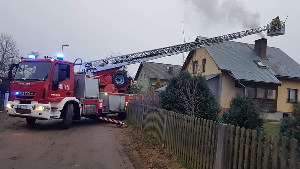 Akcja straży pożarnej w m. Krzyżowa