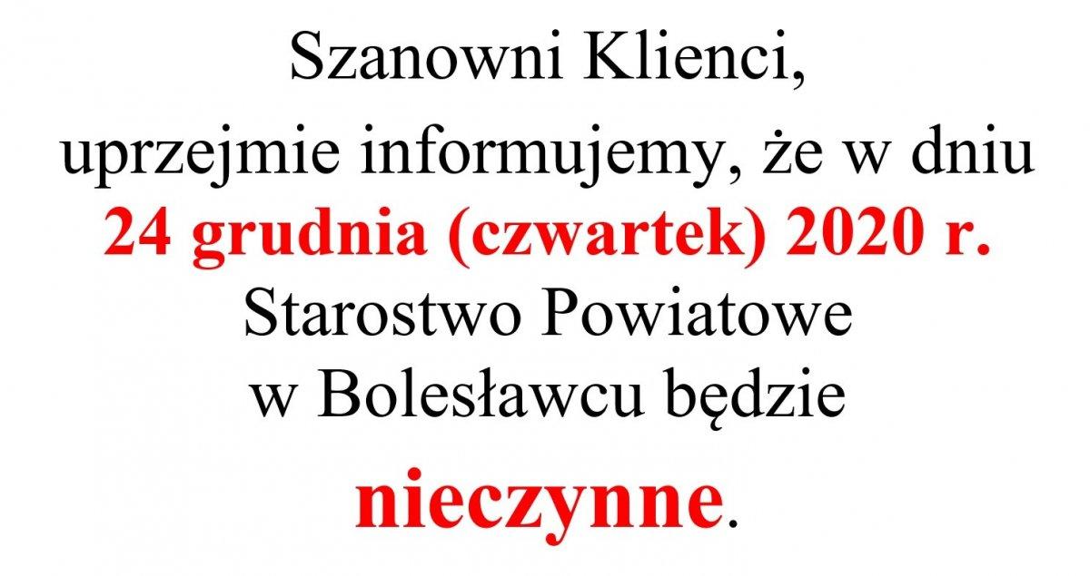 Informacja Starostwa Powiatowego w Bolesławcu