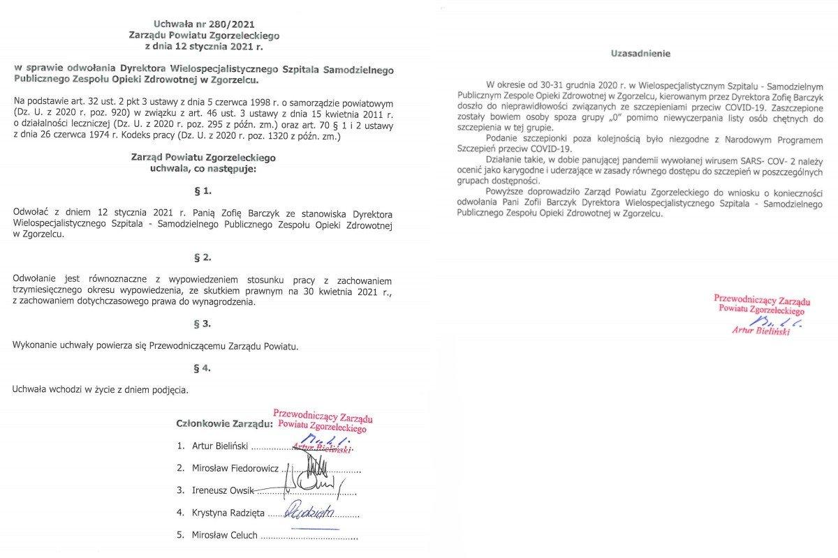Uchwała o odwołaniu Zofii Barczyk z funkcji dyrektorki zgorzeleckiego szpitala