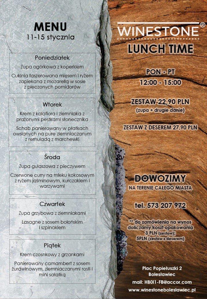 Zestawy obiadowe w Restauracji Winestone Bolesławiec