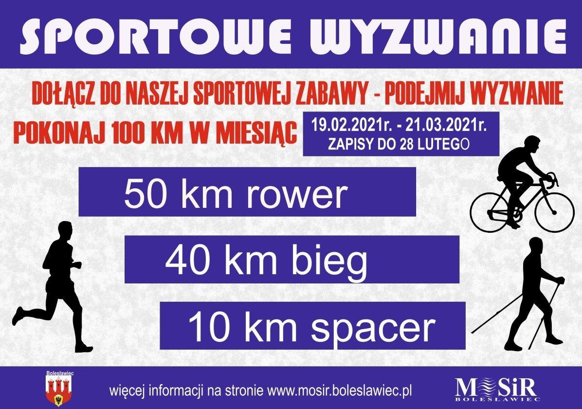 Plakat: Podejmij wyzwanie, pokonaj 100 km w miesiąc