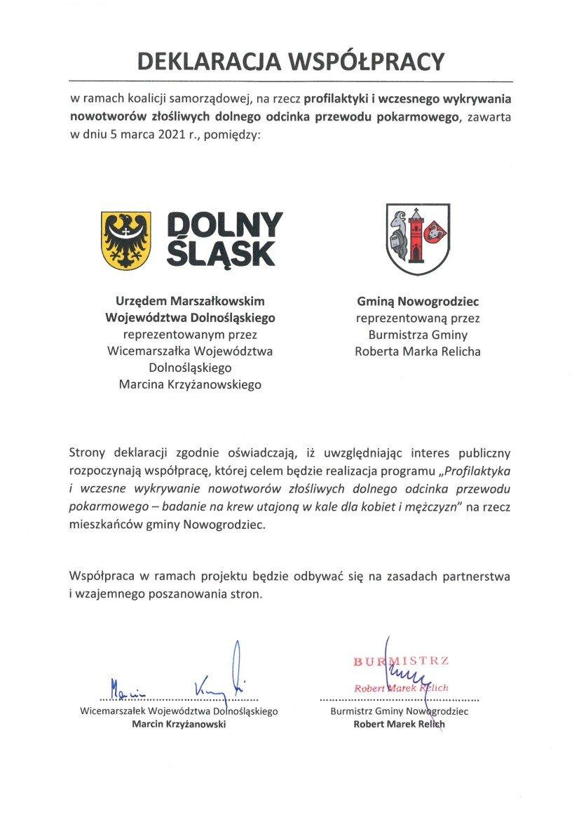 Deklaracja współpracy