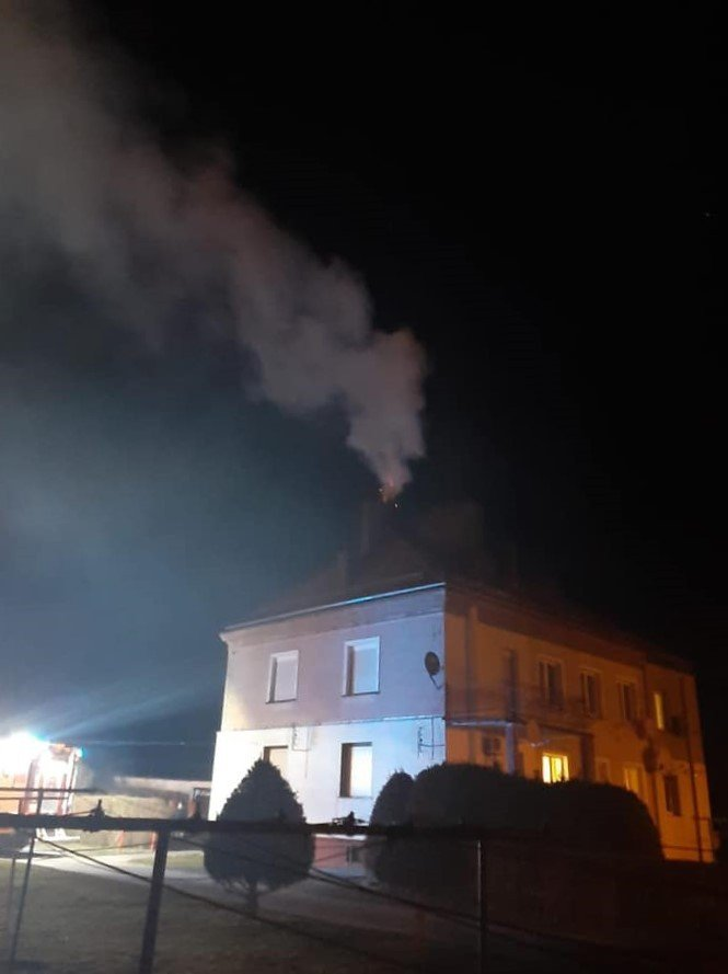 Akcja straży pożarnej w Iwinach