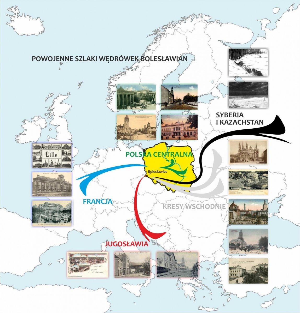 Mapa: Powojenne szlaki wędrówek osadniczych bolesławian