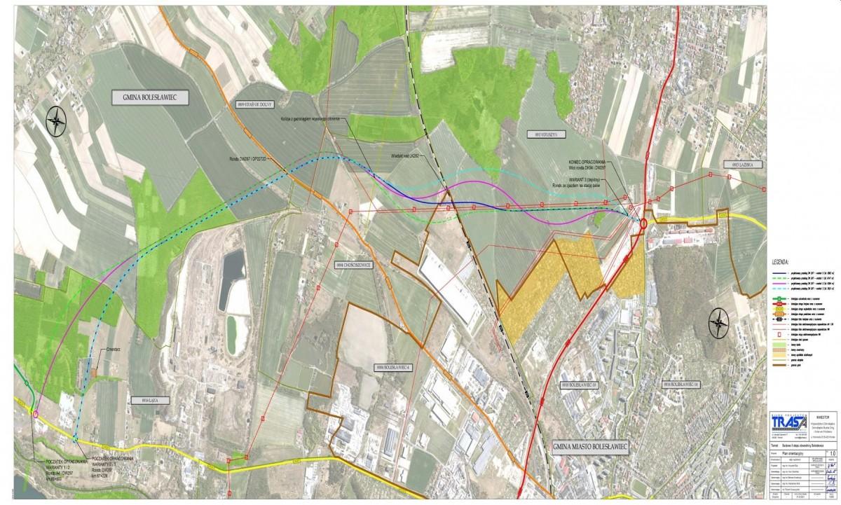 Mapa projektowa z 4 wariantami przebiegu obwodnicy wschodniej Bolesławca