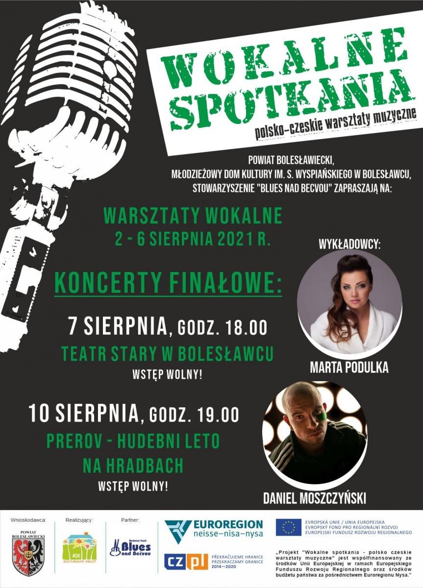 Plakat warsztatów wokalnych polsko-czeskich w MDK w Bolesławcu